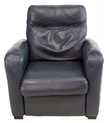 Blue Leather Power Recliner