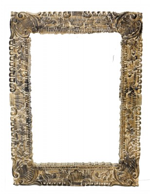 Distressed Whitewashed Wall Mirror