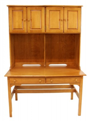Writing Desk With 4 Cabinet Storage Top