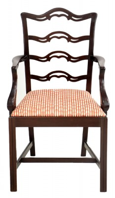Red Striped Accent Chair