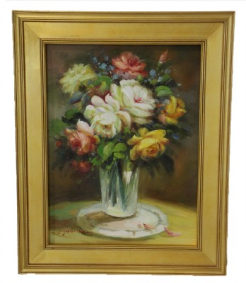 Original Oil Flowers in Vase