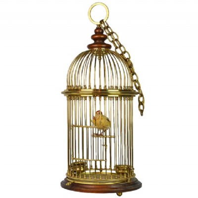 Vintage Anglo Indian Brass & Walnut Birdcage