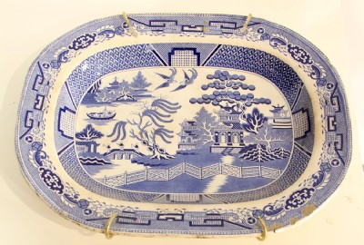 Blue & White Porcelain Tray (Priced As Is)