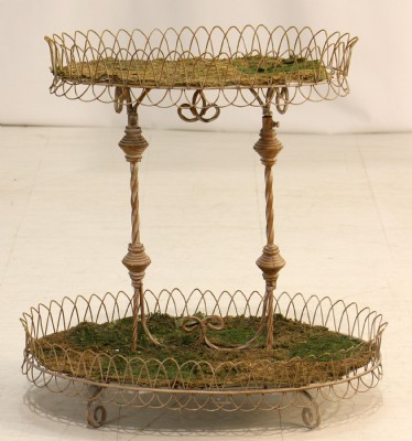 Antiqued White Wine Basket Stand