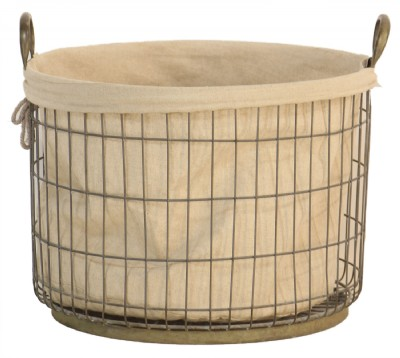 Metal Mesh and Canvas Basket- Large