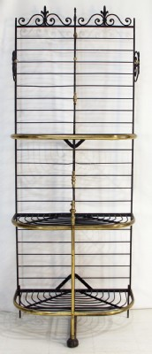 Vintage Brass & Wrought Iron Baker's Rack