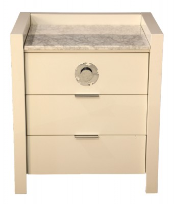 White Lacquer White Marble Top Chest