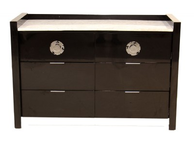 Black Lacquer White Marble Top Chest