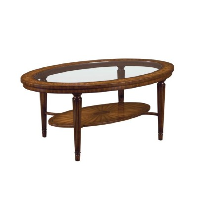 Aged Regency Two Tier Oval Cocktail Table