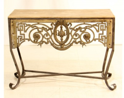 Ornate Iron Framed Console Table
