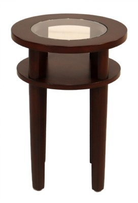 Round Wooden Table With Glass Insert