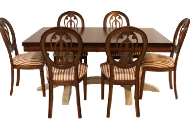 Double Pedestal Trestle Base Dining Table & Chairs