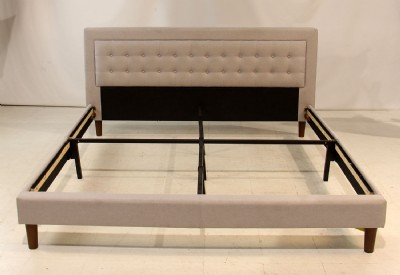 Grey Tufted Upholstered King Bed