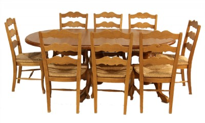Pine Dining Table with Eight Ladderback Chairs