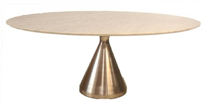 Marble Top Oval Stainless Steel Base