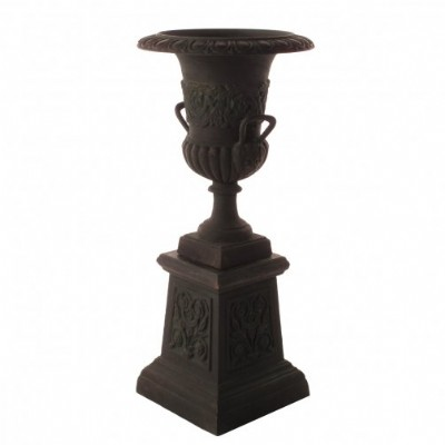 Handled Urn with Pedestal - Green