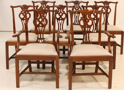 Set Of Eight Mahogany Chippendale Dining Chairs
