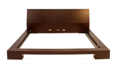 Dark Brown Wooden King Platform Bed