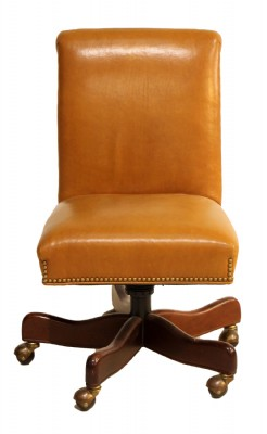 Camel Colored Leather Desk Chair