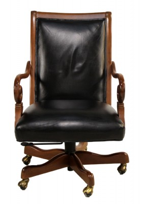 Wooden Framed Leather Desk Chair