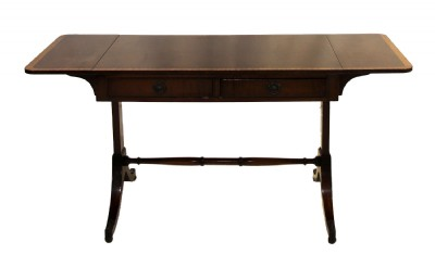 Drop Leaf Inlaid Mahogany Console Table