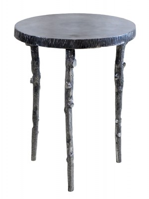 Smalll Round Silver Metal End Table