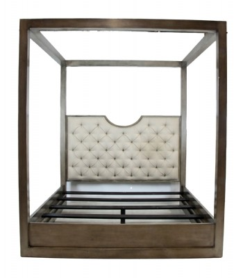 Contemporary SIlver Painted King Four Poster Bed