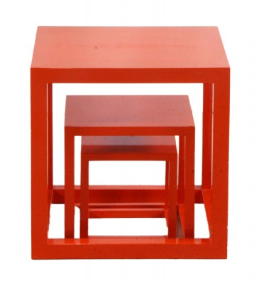 Orange Lacquer Nesting Tables