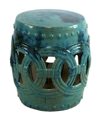 Vintage Teal Blue Ceramic Occassional Table