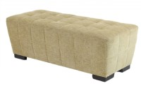 Tapered Linen Tufted Contemporary Ottoman