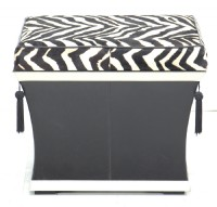 Horsehair and Leather Storage Ottoman