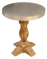 Round Tin Top Side Table