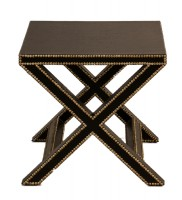 Black Leather X Legged End Table