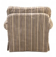 Custom Chenille Striped Arm Chair & Ottoman