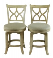 Pair of Wooden Swivel Chairs